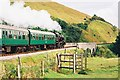 SY9682 : BR Class 4MT no.80078 heads south with its train towards Corfe Castle station by Jonathan Hutchins