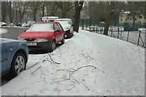 SX9164 : Snow by Upton Park by Derek Harper