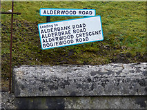 NS3174 : Road signs at Alderwood Road by Thomas Nugent