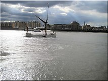 TQ3680 : Nelson Dock, passenger ferry and a passing sailing cutter by Nigel Thompson