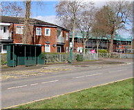 ST3096 : X22 bus stop and shelter, Edlogan Way, Croesyceiliog, Cwmbran by Jaggery