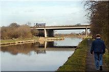 SE3724 : M62 motorway bridge by derek dye