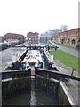 SE2933 : Boat in Office Lock, Leeds by Stephen Craven