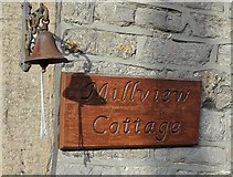 SK2375 : House sign and bell in Stoney Middleton by Neil Theasby