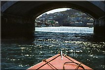 SX2553 : Passing Under The Road Bridge At Looe by Peter Jeffery