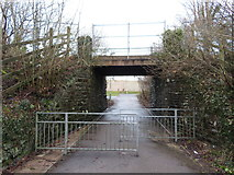 SS8983 : Footpath beneath railway line in Tondu by Gareth James