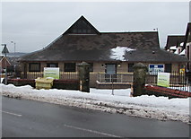 ST3090 : Snowy entrance to Malpas Library and Community Centre, Pillmawr Road, Newport by Jaggery