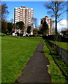 SS6593 : Path towards multistorey flats, Croft Street, Swansea by Jaggery