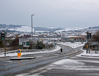SS5532 : Sticklepath Junction after a light overnight snowfall by Roger A Smith