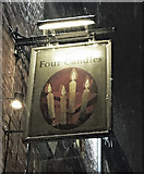 SP5106 : The Four Candles (2) - sign at night, 51-53 George Street, Oxford by L S Wilson