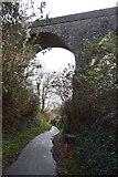 SX8957 : South West Coast Path under railway viaduct by N Chadwick