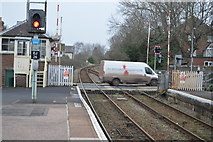 SX9688 : Level crossing at Topsham Station by N Chadwick