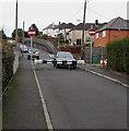 ST0584 : Metal barrier across  Llwyncrwn Road, Beddau by Jaggery