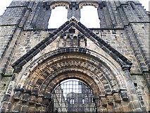 SE2536 : Kirkstall Abbey - west doorway detail by Stephen Craven