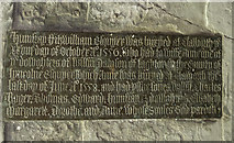 SK7288 : Brass inscription on tomb, St Peter's church, Clayworth by Julian P Guffogg