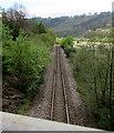 SO1804 : Single-track railway line near Cwm, Blaenau Gwent by Jaggery