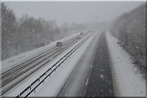 TQ5944 : Snowing, A21 by N Chadwick