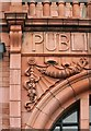 SE2932 : Former Holbeck Public Library - Detail of lettering and decoration on the porch by Alan Murray-Rust