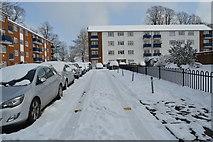 TQ5842 : Snow, Hythe Close by N Chadwick