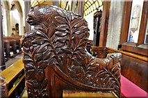 SX3384 : Launceston, St. Mary Magdalene's Church: Bench end 5 by Michael Garlick