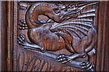 SX3384 : Launceston, St. Mary Magdalene's Church: Fine late Victorian bench ends 5 by Michael Garlick