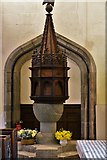 SX3384 : Launceston, St. Mary Magdalene's Church: The medieval font and c17th cover by Michael Garlick