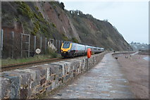 SX9473 : Penzance train on the Seawall by N Chadwick