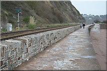 SX9473 : South West Coast Path on South Devon Railway Seawall by N Chadwick