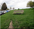SO8501 : Wooden bench at the edge of Minchinhampton Common by Jaggery