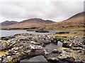 NM4936 : Rocks and rock pool at shore of Loch na Keal : Week 16