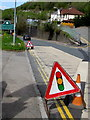 ST2589 : Temporary road signs on the approach to Pontymister by Jaggery