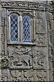 SX3384 : Launceston, St. Mary Magdalene's Church: The south porch showing St. Martin dividing his cloak sculpture by Michael Garlick