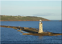 SX4650 : Evening sun on the lighthouse at the western end of Plymouth Breakwater by Rod Allday