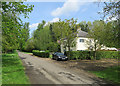 TL5776 : Barcham Farm Cottages and Barcham Road by John Sutton