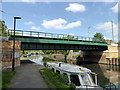 TQ3489 : Railway Bridge over Lee Navigation by PAUL FARMER