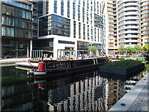 TQ2681 : Narrowboat as off-licence bar in Paddington Basin by David Hawgood