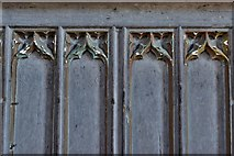 TQ5243 : Penshurst Place, Baron's Hall: Detail of woodwork below the minstrels' gallery by Michael Garlick