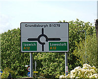 TM2649 : Roadsign on the B1079 Grundisburgh Road by Geographer