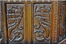 SO3958 : Pembridge, St. Mary the Virgin Church: The Jacobean pulpit (detail) 4 by Michael Garlick