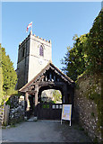 SD9772 : St Mary's church Kettlewell - tower and lych gate by Stephen Craven