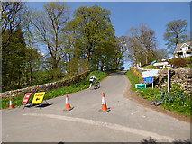 SD9772 : Cam Gill Road, Kettlewell closed for the Tour by Stephen Craven
