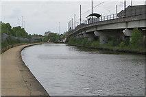SJ8196 : Pomona tram stop by the Bridgewater canal by Philip Jeffrey