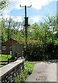 SO1824 : Line spur pole near Cwmdu Village Hall, Powys by Jaggery