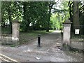 SJ8545 : Stone entrance piers to Stubbs Walks by Jonathan Hutchins