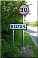TG4803 : Belton Village Name sign on New Road by Adrian Cable