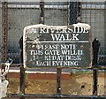 TG2308 : Notice on one of the gates on the Riverside Walk by Evelyn Simak