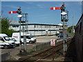 NX9718 : SRPS Cumbrian Coast Railtour 2018 : Platform-end Signals at Whitehaven (Bransty) Station by Richard West