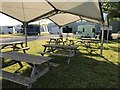 SJ8065 : TV and undercover seating at Somerford Park Horse Trials by Jonathan Hutchins