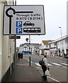 SY2489 : Large sign and small sign, Harbour Road, Seaton by Jaggery