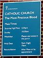 SY1287 : Catholic Church information board, Radway, Sidmouth by Jaggery